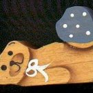 Bear with Blue Heart - Wooden Miniature