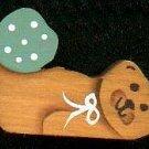 Bear with Light Green Heart - Wooden Miniature