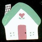 Cottage - Green / Pink - Wooden Miniature