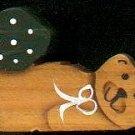 Bear with Dark Green Heart - Wooden Miniature