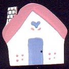 Cottage - Pink / Blue - Wooden Miniature