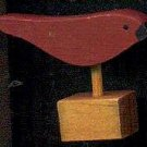 Bird - Red - Wooden Miniature