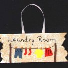 Hanging Laundry Sign - Wooden Miniature