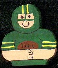 Green Football Player - Sports Wooden Miniature