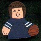 Basketball Player - Brown Hair - Blue Jersey - Sports Wooden Miniature