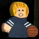 Basketball Player - Blonde Hair - Blue Jersey - Sports Wooden Miniature