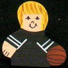 Basketball Player - Blonde Hair - Black Jersey - Sports Wooden Miniature