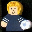 Soccer Player - Blonde Hair - Blue Jersey - Sports Wooden Miniature