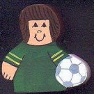 Soccer Player - Brown Hair - Green Jersey - Sports Wooden Miniature