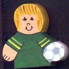 Soccer Player - Blonde Hair - Green Jersey - Sports Wooden Miniature