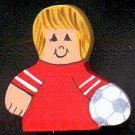 Soccer Player - Blonde Hair - Red Jersey - Sports Wooden Miniature
