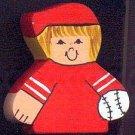 Baseball Player - Blonde Hair - Red Jersey - Sports Wooden Miniature