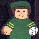 Baseball Player - Brown Hair - Green Jersey - Sports Wooden Miniature