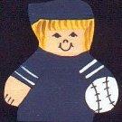 Baseball Player - Blonde Hair - Blue Jersey - Sports Wooden Miniature