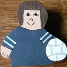 Volleyball Player - Brown Hair - Blue Jersey - Sports Wooden Miniature
