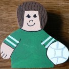 Volleyball Player - Brown Hair - Green Jersey - Sports Wooden Miniature