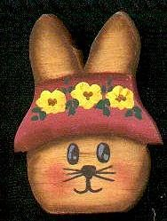 Hat Bunny  - Pink -  Easter Wooden Miniature