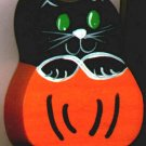 Black Cat in Pumpkin - Halloween Wooden Miniature