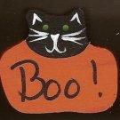 Boo Pumpkin Cat - Halloween Wooden Miniature