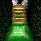 Hanging Green Christmas Light Bulb - Christmas Wooden Miniature