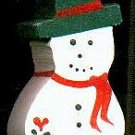 Snoman - Green - Christmas Wooden Miniature
