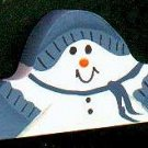 Sledding Snowman - Blue / Blue - Christmas Wooden Miniatures