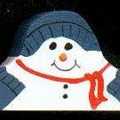 Sledding Snowman - Blue / Red - Christmas Wooden Miniatures