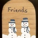 Snowman Friends - Blue - Christmas Wooden Miniatures