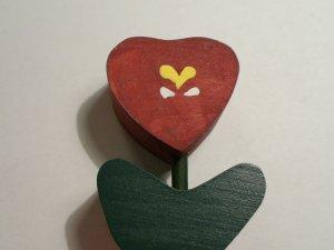 Heart Tulip - Burgundy - Wooden Miniature