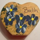 Bath Heart - Navy Blue- Wooden Miniature