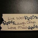 Primtive Love Much Sign Blue - Wooden Miniature