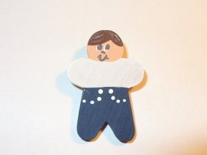 Brown  Hair Boy Pin for Embroidered Sweatshirt