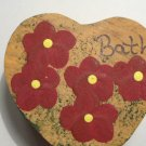 Bath Heart - Burgundy  - Wooden Miniature