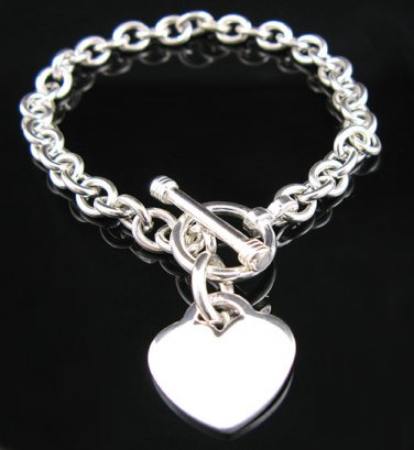 ".925 Sterling Silver Toggle Heart 7.5"" Bracelet - NEW!"