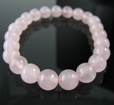 "Genuine 8mm Rose Quartz 7"" Stretch Bracelet"