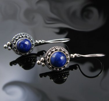 .925 Silver Round Blue Lapis Bead French Wire Earrings!