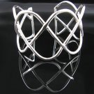 "7"" Sterling Silver Sine Waves Design Cuff Bracelet -NEW"