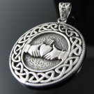 .925 Sterling Silver Celtic Knot and Claddagh Pendant