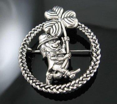 .925 Silver Irish Leprechaun Shamrock Pendant Pin Combo