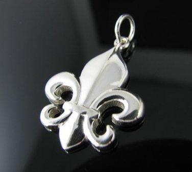 Genuine .925 Sterling Silver Fleur de Lis Pendant - NEW