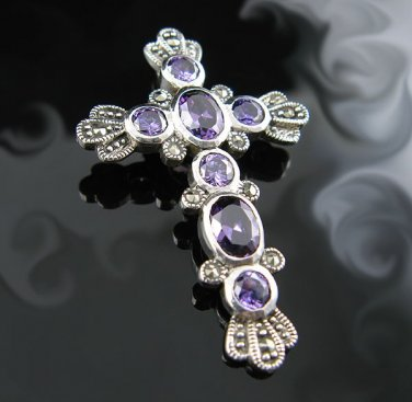 .925 Sterling Silver with Marcasite Stone Cross Pendant