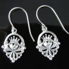 .925 Sterling Silver Celtic Claddagh Heart Earrings