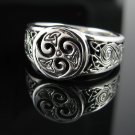 .925 Silver Triskele & Celtic Knots Ring - Sz 6-13