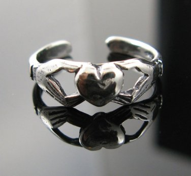 .925 Sterling Silver Irish Celtic Claddagh Toe Ring NEW
