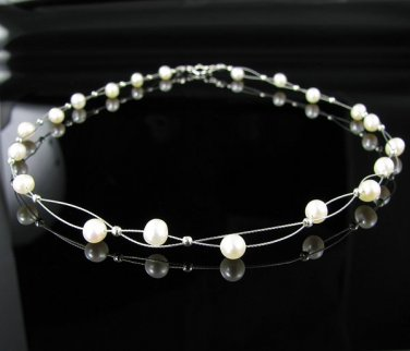 "16"" Double Strand .925 Sterling Silver Pearl Necklace !"