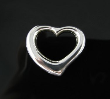 .925 Sterling Silver Small Floating Heart Pendant Charm