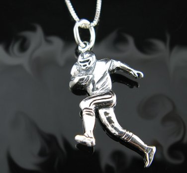Solid .925 Sterling Silver Football Player Pendant -NEW