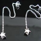 .925 Sterling Silver Puffed Stars Dangle Earrings -NEW