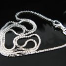 ".925 Sterling Silver 16"" 1.30mm Box Chain Necklace -NEW"