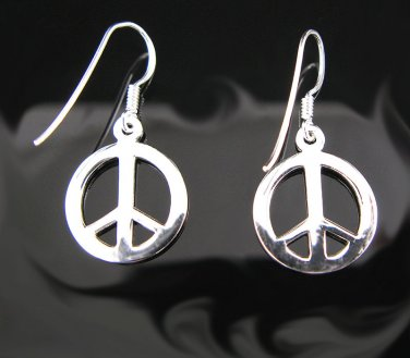 .925 Sterling Silver French Wire Peace Sign Earrings !